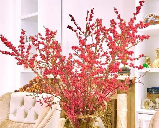 Vì sở thích trang trí nhà cửa mừng năm mới, chị Hồng Nhung (Nguyễn Trãi, Thanh Xuân, Hà Nội) đặt cửa hàng hoa tươi nhập khẩu 2 bình đào đông đỏ để đặt trong phòng khách và phòng ăn.