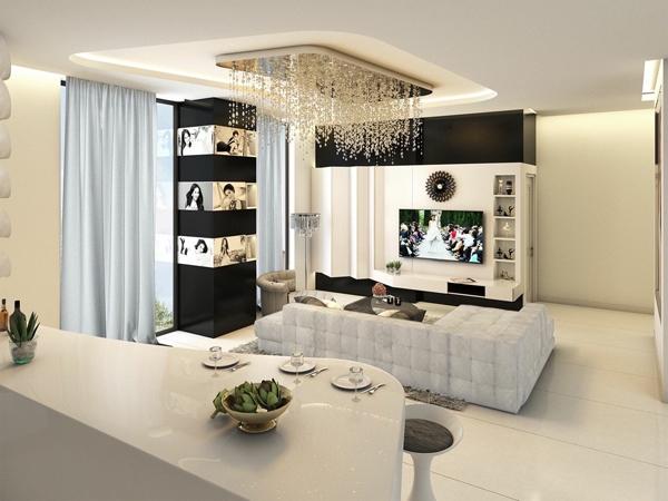Phòng khách đẹp mê ly với tông màu chủ đạo trắng - đen.