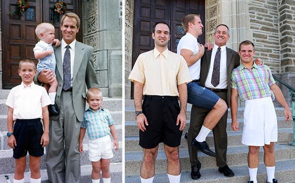 Bé trai trên tay bố ngày nào giờ đã trở thành một chàng trai cao lớn.