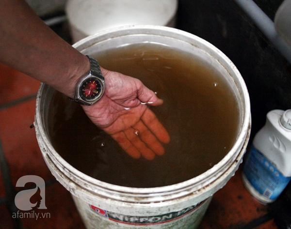 Nước trong xô để khoảng nửa tiếng đã chuyển sang màu đen, nhiều váng và cặn.