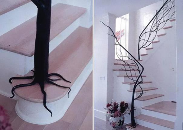 Mang cả thiên nhiên vào nhà với cầu thang cây leo hết sức nhẹ nhàng, với những đường nét tinh tế.