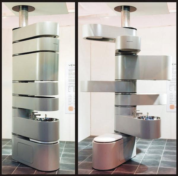 Nghe có vẻ hơi lạ, nhưng đây chính là thiết kế phù hợp cho những phòng tắm nhỏ . Thiết bị vệ sinh này là sự kết hợp đa năng giữa bồn cầu (tầng dưới cùng), bồn rửa (tầng 2), ngăn đồ (tầng 3,4), hộp chứa nước (tầng 5) và vòi hoa sen ở tầng 6,7. Bồn cầu ở phía dưới cùng sẽ được cố định, những ngăn còn lại có thể xoay ra nhiều hướng tùy vào nhu cầu của người sử dụng.