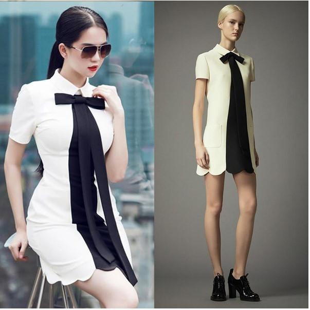 Valentino cũng là một trong những thương hiệu được Ngọc Trinh lựa chọn để nhái lại mẫu váy trắng thắt nơ cổ điển. Tuy nhiên, cô đã sáng tạo hơn ở chi tiết chiết eo và lược bỏ đi phần túi.