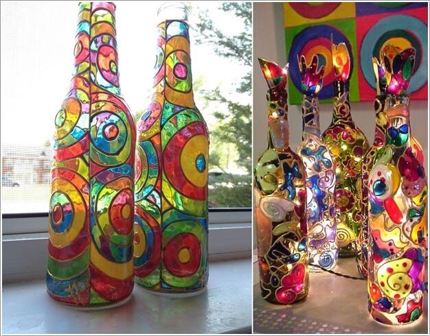 6. Sử dụng sơn để làm đẹp thân chai với nhiều màu sắc dễ thương. Để hiệu ứng màu sắc thêm đặc biệt, bạn có thể bỏ đèn Led vào bên trong, thắp sáng khi trời tối, không gian nhà bạn sẽ ngay lập tức đẹp một cách cuốn hút và đặc biệt.