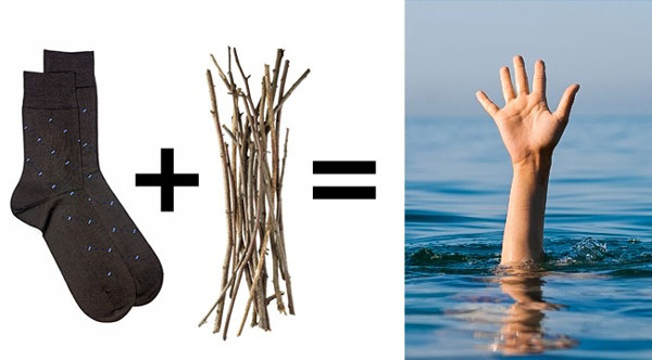 Một chiếc tất nhét đầy cành củi con có thể được dùng như một phao cứu sinh ném xuống cho người đang đuối nước. Cảnh củi khô luôn nổi trên mặt nước và nạn nhân có thể nắm vào chiếc tất đó.