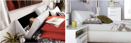 Tận dụng phía đầu giường để cất những vật dụng như sách, báo.
