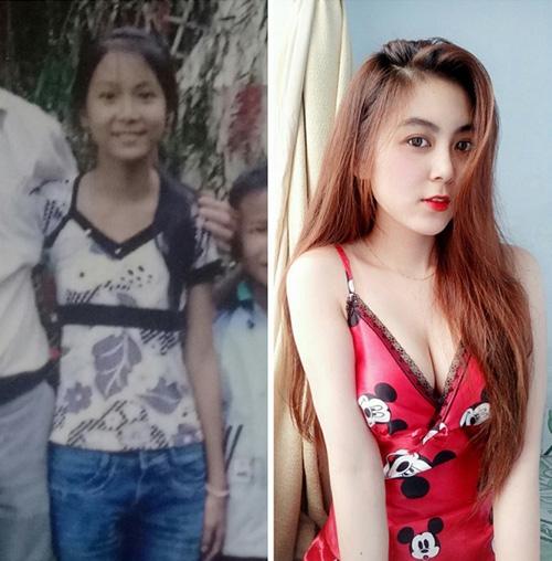 Hình ảnh trước và sau khi dậy thì thành công của cô gái xinh đẹp.