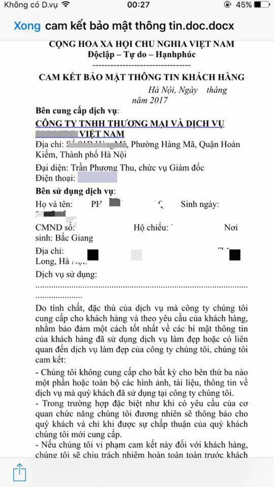 Hợp đồng yêu cầu bảo mật hình ảnh do chị Diệu Linh cung cấp.