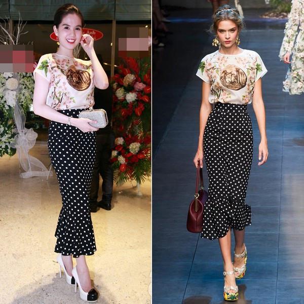Ngọc Trinh từng thừa nhận bản thân chỉ diện mẫu áo hàng hiệu của Dolce &Gabbana, còn chân váy chấm bi thì được biến tấu phù hợp với vóc dáng của cô.