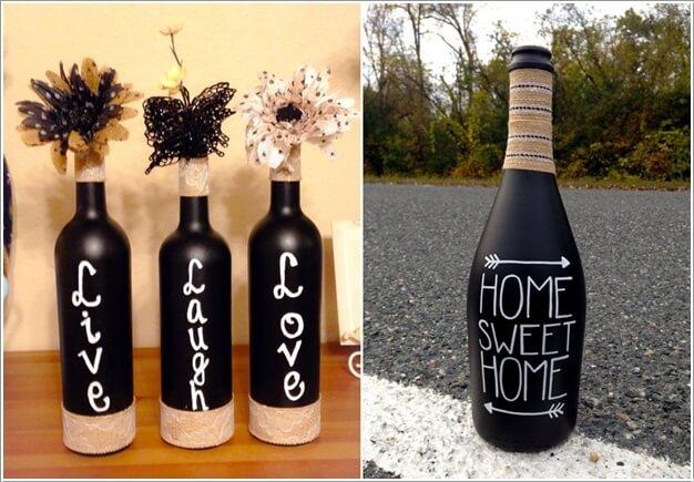7. Sơn toàn bộ chai thủy tinh với màu đen, gam màu sẽ giúp cho những thông điệp bằng chữ màu trắng trang trí sẽ thêm đẹp mắt.
