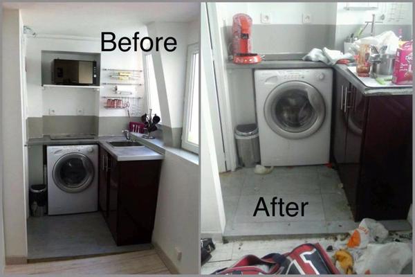 Một góc nhà bếp trước và sau khi cho thuê nhà.