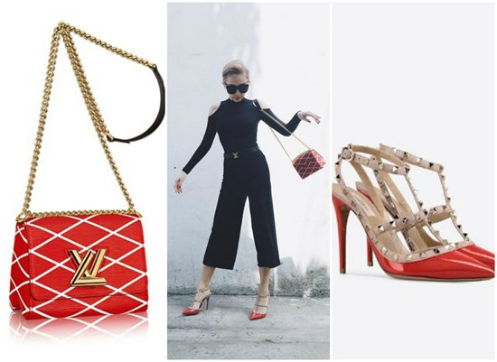 Đi dạo phố, Tóc Tiên diện túi hiệu Louis Vuitton trị giá khoảng 80 triệu đồng cùng giày Rockstud Sandals của Valentino giá khoảng 22 triệu đồng.
