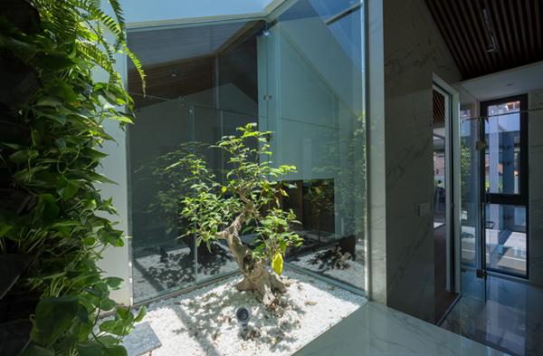 Kiến trúc sư đã sử dụng vật liệu kính để mở rộng các khu vực chức năng.