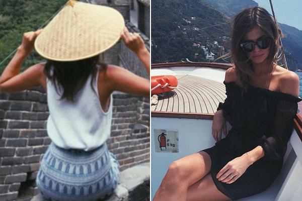 Georgia khoe ảnh đến thăm Vạn Lý Trường Thành ở Trung Quốc (ảnh trái) và trên vùng biển Riviera ở Italy (ảnh phải).