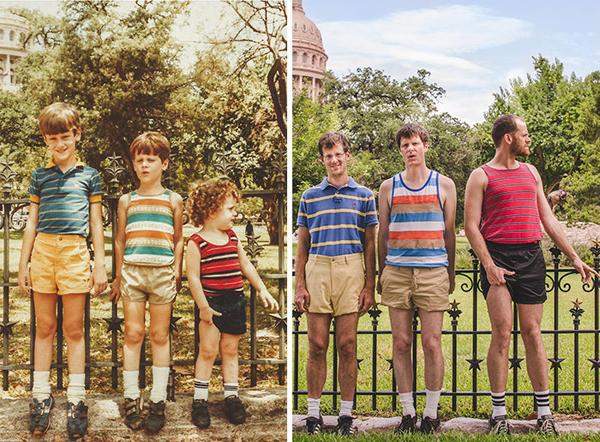 Cảnh vật trong bức ảnh mới hầu như không thay đổi nhiều sau bao năm ba đứa trẻ lớn lên.