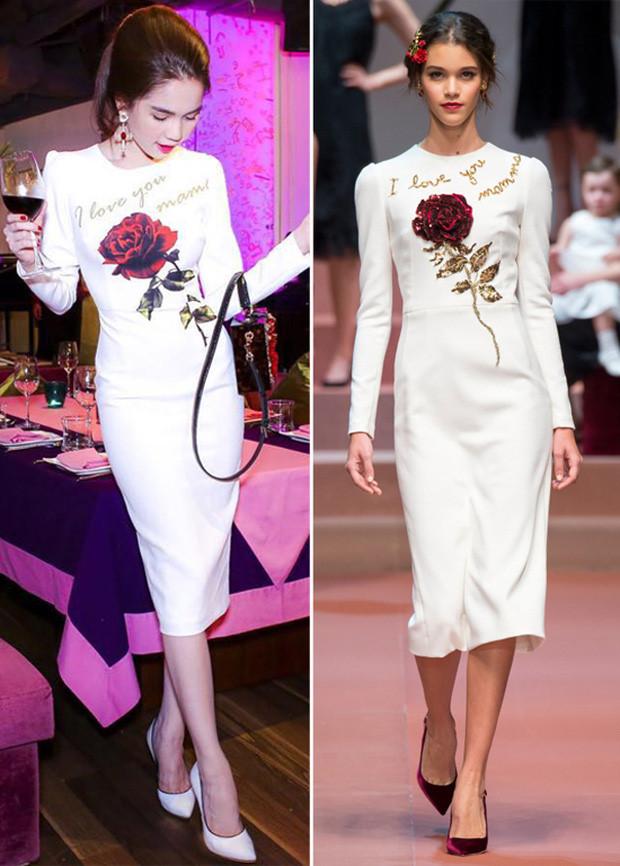 Cô cũng từng diện chiếc đầm trắng hoa hồng thanh lịch kết hợp cùng túi xách đính kết sành điệu. Đây là một phiên bản sao chép trong bộ sưu tập Thu Đông 2015 của Dolce & Gabbana.