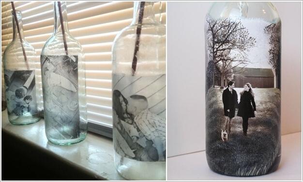 8. Dán những bức ảnh lên chai thủy tinh, những bức tranh kỷ niệm về cuộc sống sẽ đẹp ấn tượng, thu hút sự chú ý của mọi người khi trang trí.