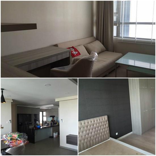 Trong ảnh là nhà bếp, phòng khách và phòng ngủ của căn hộ lúc Tuấn Hưng đang dọn về.