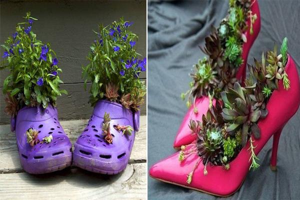 Biến tấu những đôi dép bỏ đi thành chậu hoa ngộ nghĩnh.
