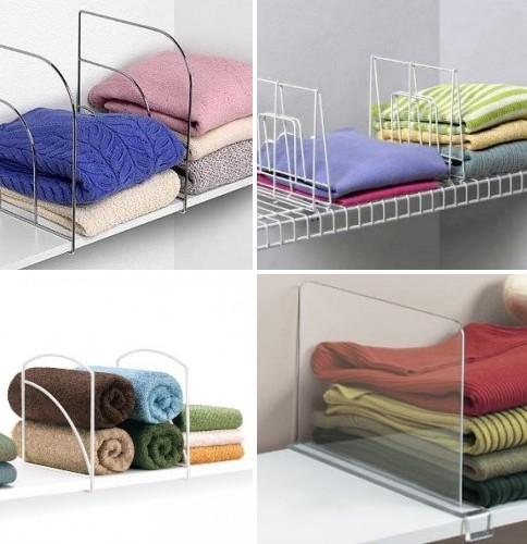 9. Để giữ quần áo gấp hoặc phụ kiện một cách ngay ngắn, không bị xô lệch, bạn có thể nhờ đến sự hỗ trợ của những chiếc vách ngăn nhựa.