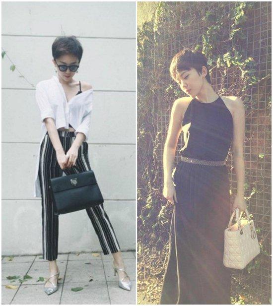 Tóc Tiên cũng sở hữu bộ sưu tập túi xách nhiều không đếm xuể. Đầu tiên có thể kể đến là Dior. Chiếc túi bên trái có tên là Dioreve nằm trong BST xuân hè 2016 của Dior với giá bán khoảng 75 triệu đồng.