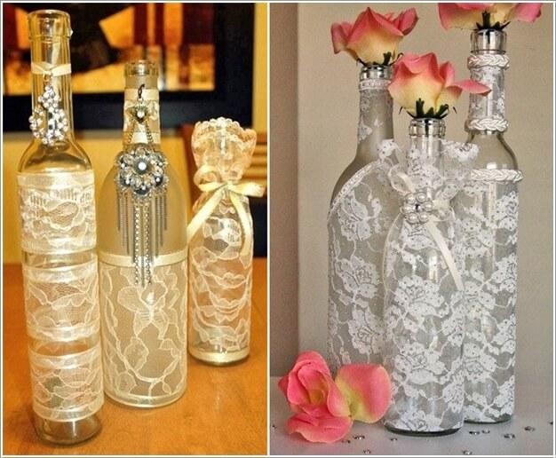 10. Sử dụng vải ren để làm đẹp thân chai thủy tinh. Ý tưởng đơn giản và cách trang trí nhanh chóng này có thể giúp cho không gian nhỏ thêm duyên dáng khi có sự hiện diện của những chiếc chai, lọ này.