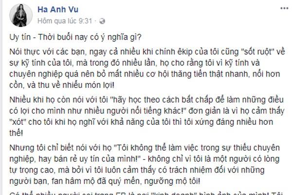 Siêu mẫu Hà Anh chia sẻ quan điểm của cô về việc làm đại sứ thương hiệu.