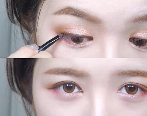 Kẻ mắt màu nâu: Trong khi eyeliner màu đen ghi điểm bởi sự sắc sảo, phá cách, nổi bật thì eyeliner màu nâu sẽ khiến nàng trông trẻ trung và dịu dàng hơn hẳn đấy.