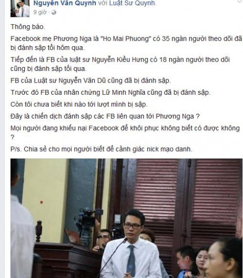 Thông báo từ Facebook của Luật sư Nguyễn Văn Quynh