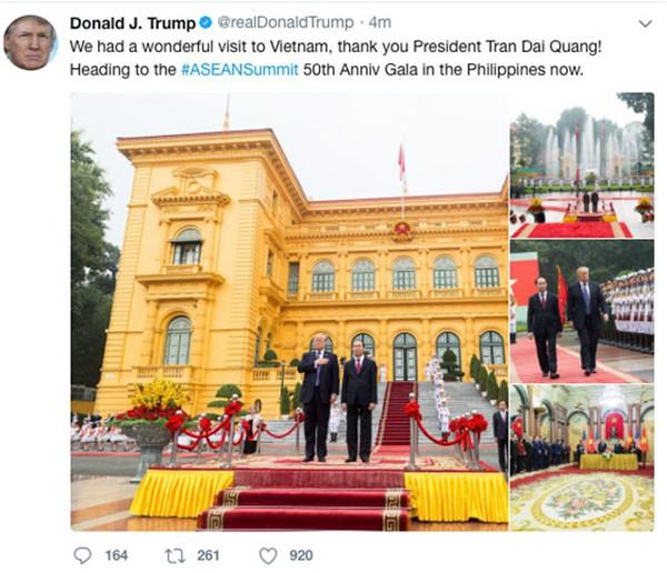 Và khi kết thúc chuyến công tác Việt Nam, ông ca ngợi Việt Nam và nói cảm ơn Chủ tịch nước Trần Đại Quang.
