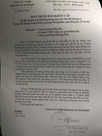 Đơn trình báo của khách sạn Kinh Đô gửi cơ quan chức năng.