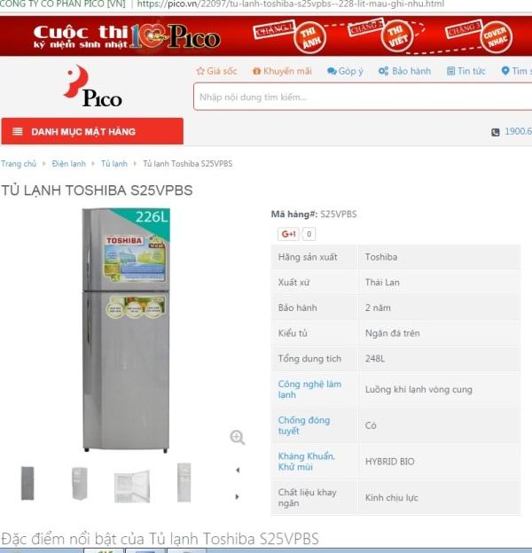 Sau khi không khắc phục được lỗi, Pico đã đổi mới cho khách hàng tủ lạnh Tosiba.