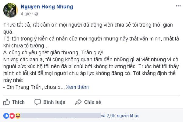 Vợ NS Xuân Bắc đã có đáp trả Trang Trần.