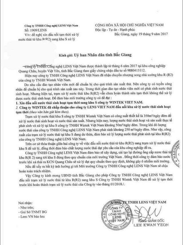 Công văn đề nghị kỳ lạ của Công ty Lens gửi UBND tỉnh Bắc Giang