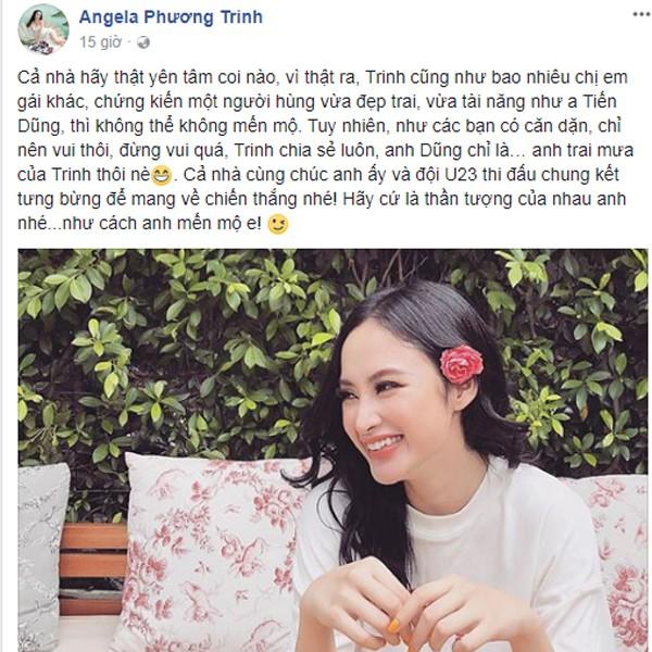 Angela Phương Trinh phải trấn an fan nữ của thủ môn Bùi Tiến Dũng bằng cách gỡ đoạn chát riêng tư.