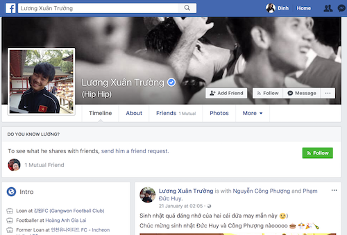 Tài khoản Facebook của đội trưởng U23 Việt Nam đã được Facebook xác thực.