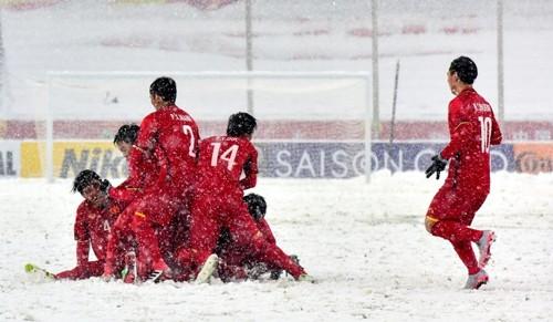 Đội tuyển U23 Việt Nam trong trận chung kết U23 châu Á với Uzbekistan. Ảnh: AFC.