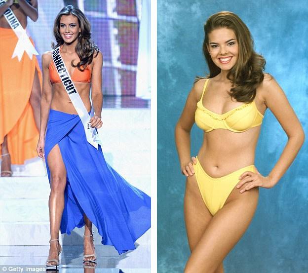 """Hoa hậu Mỹ Miss USA 2013 - Erin Brady (trái) - với những cơ bắp săn chắc. Hoa hậu Mỹ Miss USA 1999 - Kimberly Pressler (phải) - sở hữu vóc dáng thon gọn """"đơn thuần""""."""