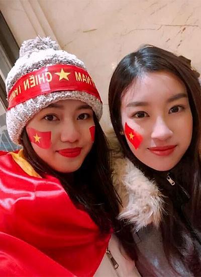 Thanh Tú và Mỹ Linh hội ngộ sau trận chung kết của U23 Việt Nam.