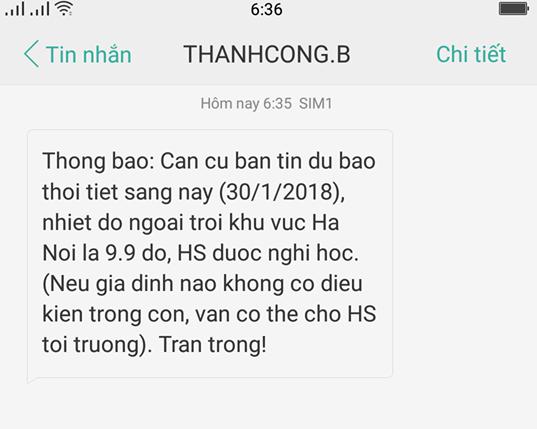 Thông báo của trường tiểu học Thành Công B (Hà Nội) cho học sinh nghỉ học sáng 30/1.
