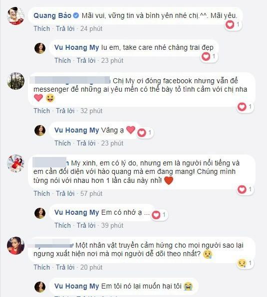 MC Quang Bảo cũng thấy tiếc nuối khi đàn chị đã quyết định khóa trang cá nhân.