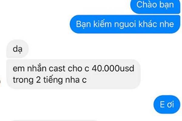 Diễm Hương công khai tin nhắn gạ đi khách giá 40.000 USD.