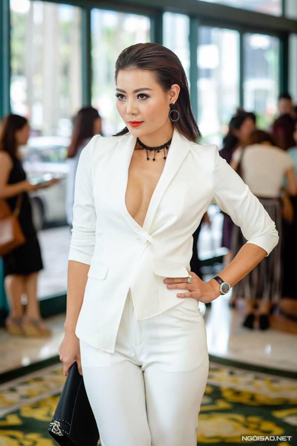 Thanh Hương đi dự họp báo ra mắt phim Quỳnh búp bê hồi tháng 6/2018.