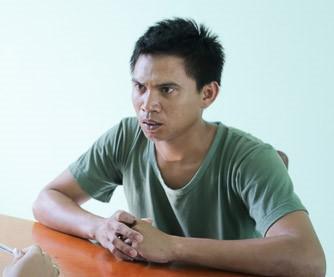 Trần Văn Phương tại cơ quan công an. Ảnh: Tuấn Kiệt.