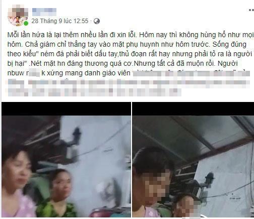 Hình ảnh lãnh đạo Trường Mầm non Liên Am và giáo viên đến gặp phụ huynh để xin lỗi đã được phụ huynh chia sẻ trên mạng xã hội.