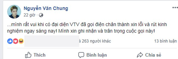Nhạc sĩ Nguyễn Văn Chung thông báo đại diễn VTV đã gọi điện xin lỗi.