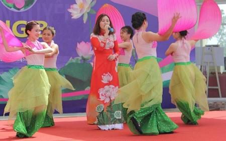 Nữ sinh Vân Anh biểu diễn trong một chương trình văn nghệ