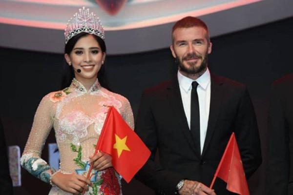 Sự tự tin của Hoa hậu Trần Tiểu Vy trước David Beckham.
