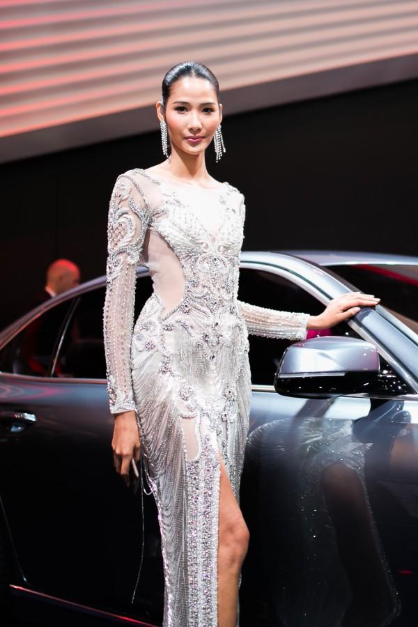 Hoàng Thùy tạo dáng bên mẫu sedan Lux A2.0 của Vinfast và được đông đảo báo chí chú ý.