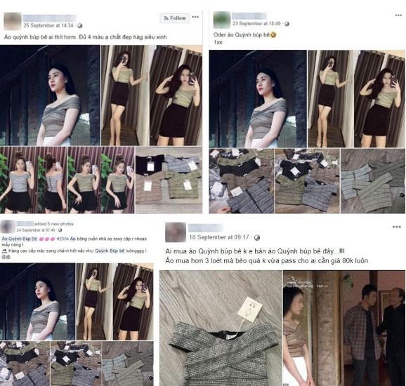 Mẫu áo mà Phương Oanh đã mặc được thi nhau đăng bán, áo có 4 màu, với giá bán dao động từ 150.000 VNĐ đến 300.000 VNĐ.